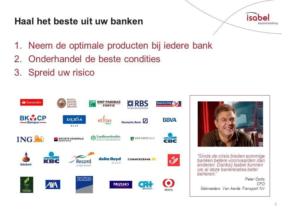 Haal het beste uit uw banken 1.Neem de optimale producten bij iedere bank 2.Onderhandel de beste condities 3.Spreid uw risico 5 Sinds de crisis bieden sommige banken betere voorwaarden dan anderen.