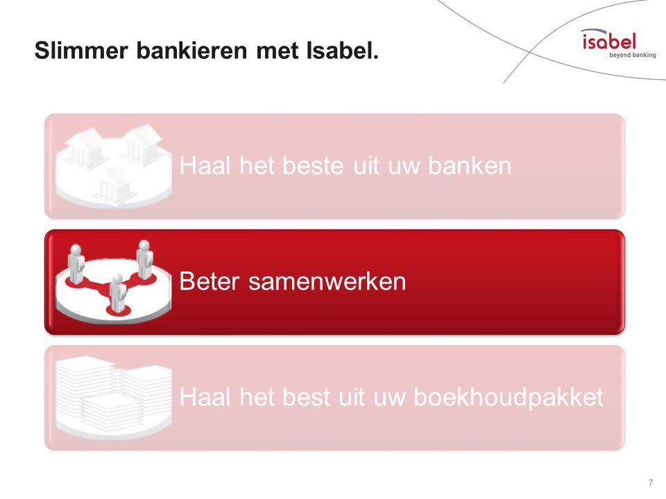 Haal het beste uit uw banken Beter samenwerken Haal het best uit uw boekhoudpakket Slimmer bankieren met Isabel.