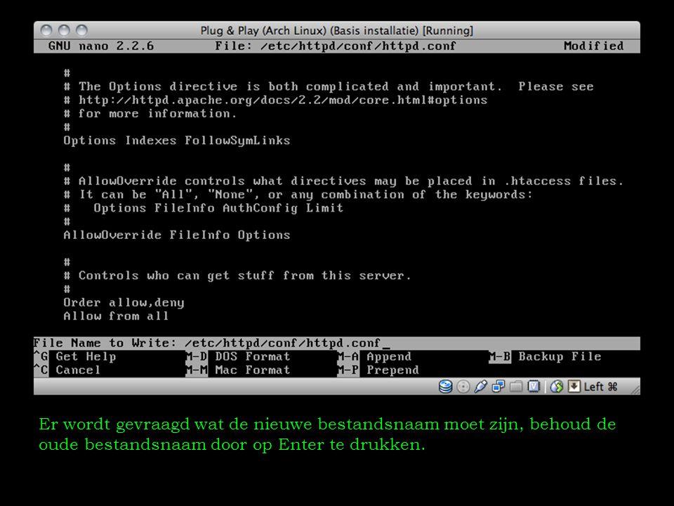 Er wordt gevraagd wat de nieuwe bestandsnaam moet zijn, behoud de oude bestandsnaam door op Enter te drukken.