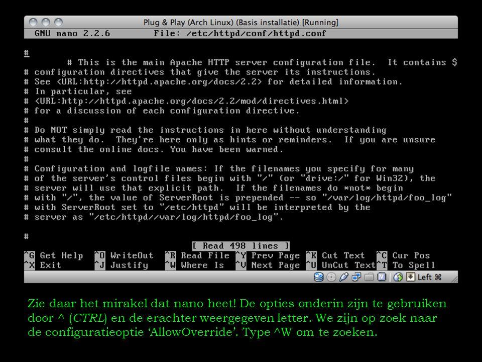 Type vervolgens de zoekopdracht 'AllowOverride' en druk op Enter om de opdracht uit te voeren.