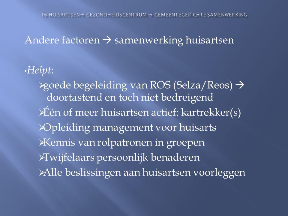 Andere factoren  samenwerking huisartsen • Helpt :  goede begeleiding van ROS (Selza/Reos)  doortastend en toch niet bedreigend  Één of meer huisa