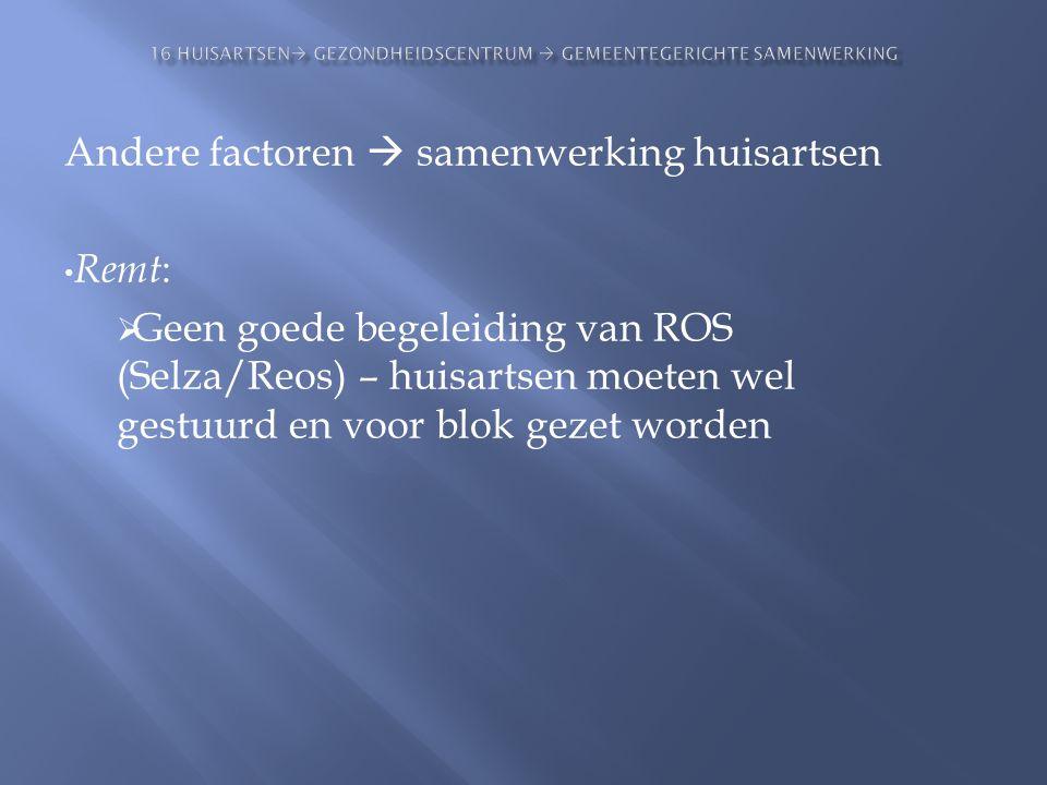 Andere factoren  samenwerking huisartsen • Remt :  Geen goede begeleiding van ROS (Selza/Reos) – huisartsen moeten wel gestuurd en voor blok gezet w