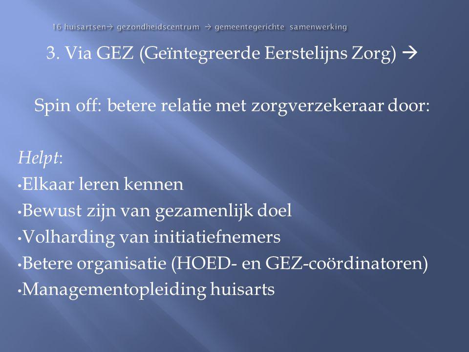 16 huisartsen  gezondheidscentrum  gemeentegerichte samenwerking 3. Via GEZ (Geïntegreerde Eerstelijns Zorg)  Spin off: betere relatie met zorgverz