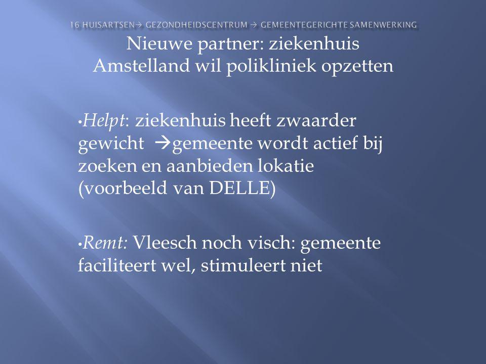 Nieuwe partner: ziekenhuis Amstelland wil polikliniek opzetten • Helpt : ziekenhuis heeft zwaarder gewicht  gemeente wordt actief bij zoeken en aanbi