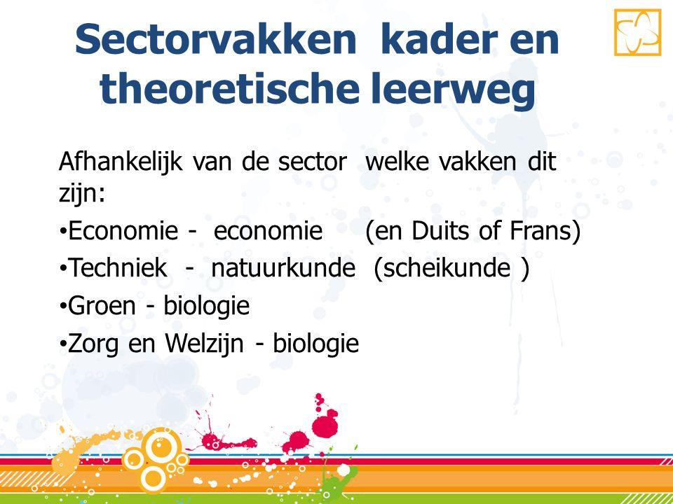Sectorvakken kader en theoretische leerweg Afhankelijk van de sector welke vakken dit zijn: • Economie - economie (en Duits of Frans) • Techniek - natuurkunde (scheikunde ) • Groen - biologie • Zorg en Welzijn - biologie