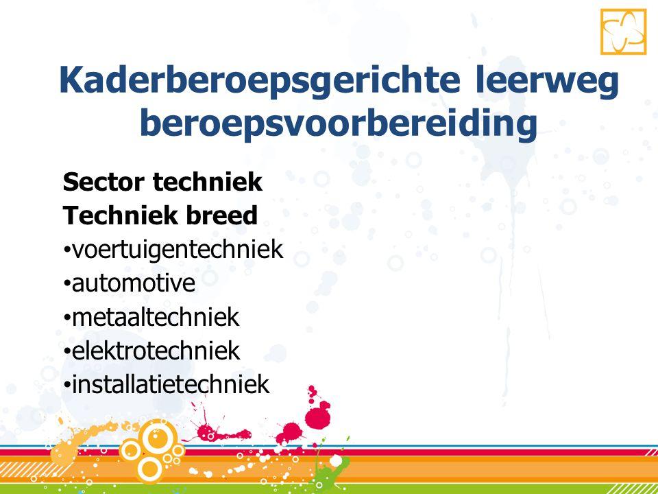 Kaderberoepsgerichte leerweg beroepsvoorbereiding Sector techniek Techniek breed • voertuigentechniek • automotive • metaaltechniek • elektrotechniek • installatietechniek