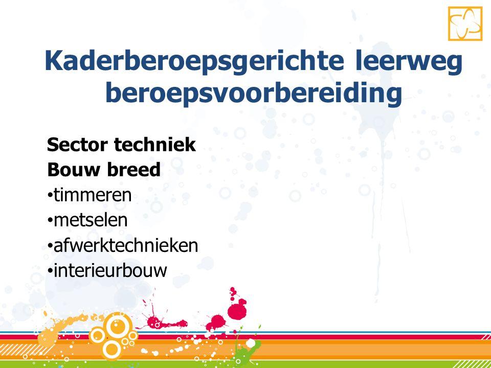 Kaderberoepsgerichte leerweg beroepsvoorbereiding Sector techniek Bouw breed • timmeren • metselen • afwerktechnieken • interieurbouw