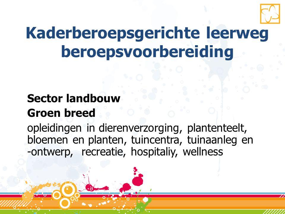 Kaderberoepsgerichte leerweg beroepsvoorbereiding Sector landbouw Groen breed opleidingen in dierenverzorging, plantenteelt, bloemen en planten, tuincentra, tuinaanleg en -ontwerp, recreatie, hospitaliy, wellness