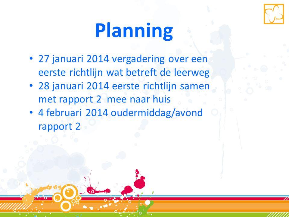 Planning • 27 januari 2014 vergadering over een eerste richtlijn wat betreft de leerweg • 28 januari 2014 eerste richtlijn samen met rapport 2 mee naar huis • 4 februari 2014 oudermiddag/avond rapport 2