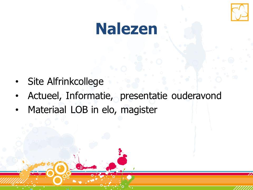 Nalezen • Site Alfrinkcollege • Actueel, Informatie, presentatie ouderavond • Materiaal LOB in elo, magister