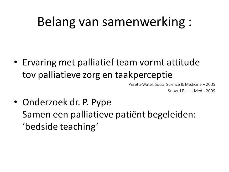 Belang van samenwerking : • Ervaring met palliatief team vormt attitude tov palliatieve zorg en taakperceptie Peretti-Watel, Social Science & Medicine