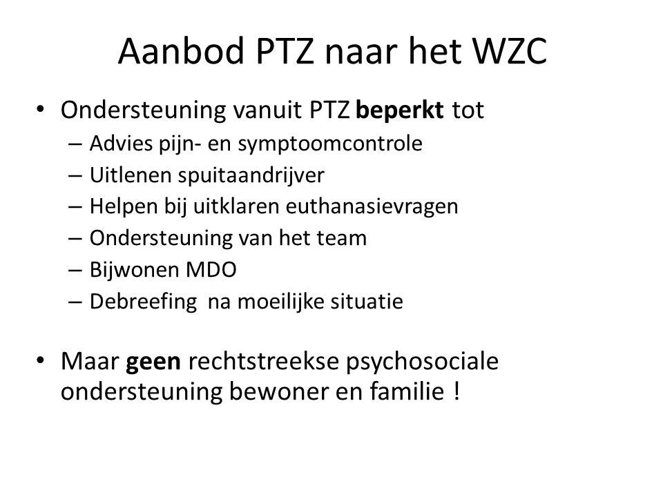 Aanbod PTZ naar het WZC • Ondersteuning vanuit PTZ beperkt tot – Advies pijn- en symptoomcontrole – Uitlenen spuitaandrijver – Helpen bij uitklaren eu