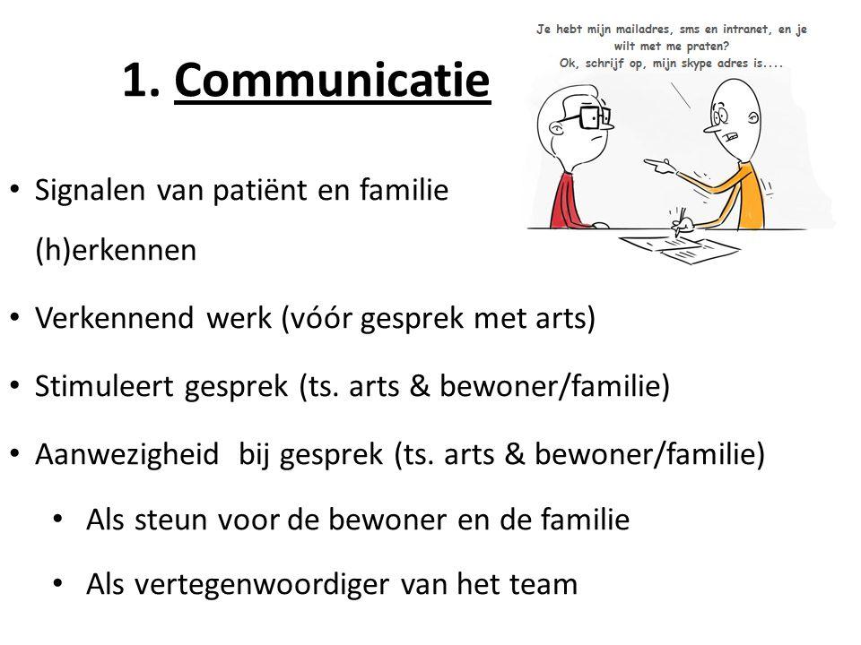 • Signalen van patiënt en familie (h)erkennen • Verkennend werk (vóór gesprek met arts) • Stimuleert gesprek (ts. arts & bewoner/familie) • Aanwezighe