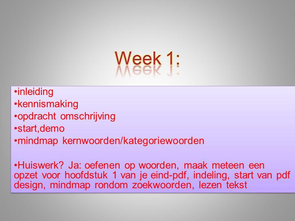 •inleiding •kennismaking •opdracht omschrijving •start,demo •mindmap kernwoorden/kategoriewoorden •Huiswerk? Ja: oefenen op woorden, maak meteen een o