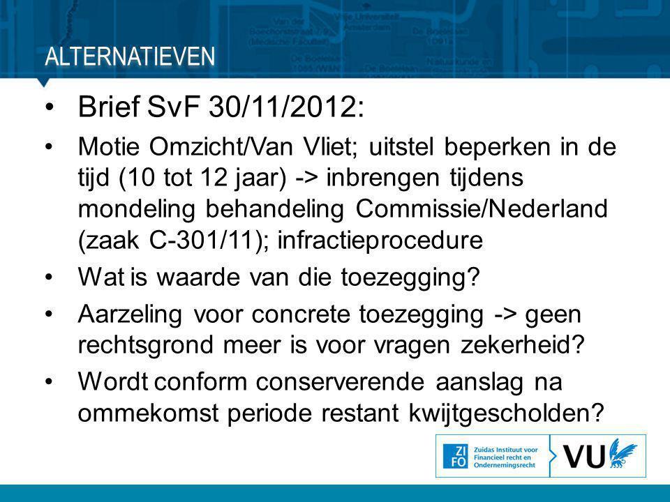 •Brief SvF 30/11/2012: •Motie Omzicht/Van Vliet; uitstel beperken in de tijd (10 tot 12 jaar) -> inbrengen tijdens mondeling behandeling Commissie/Ned