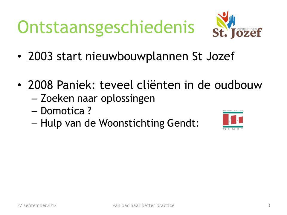 Ontstaansgeschiedenis • 2003 start nieuwbouwplannen St Jozef • 2008 Paniek: teveel cliënten in de oudbouw – Zoeken naar oplossingen – Domotica .