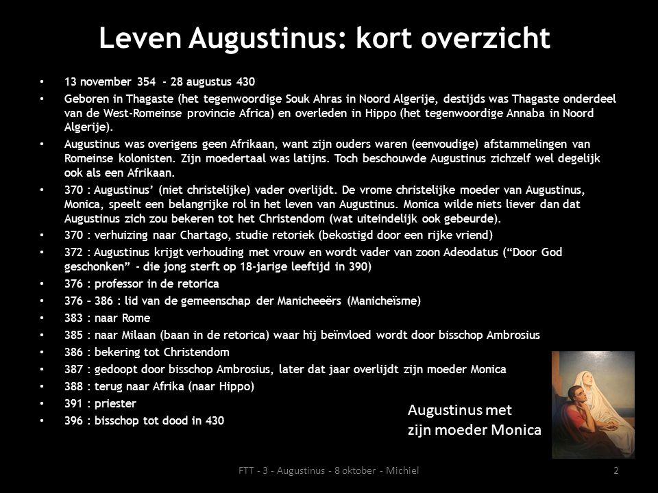 Betekenis Augustinus voor de filosofie • Augustinus wordt gezien als de invloedrijkste christelijk denker en belangrijkste Kerkvader* (theoloog/schrijver) van het Westen.