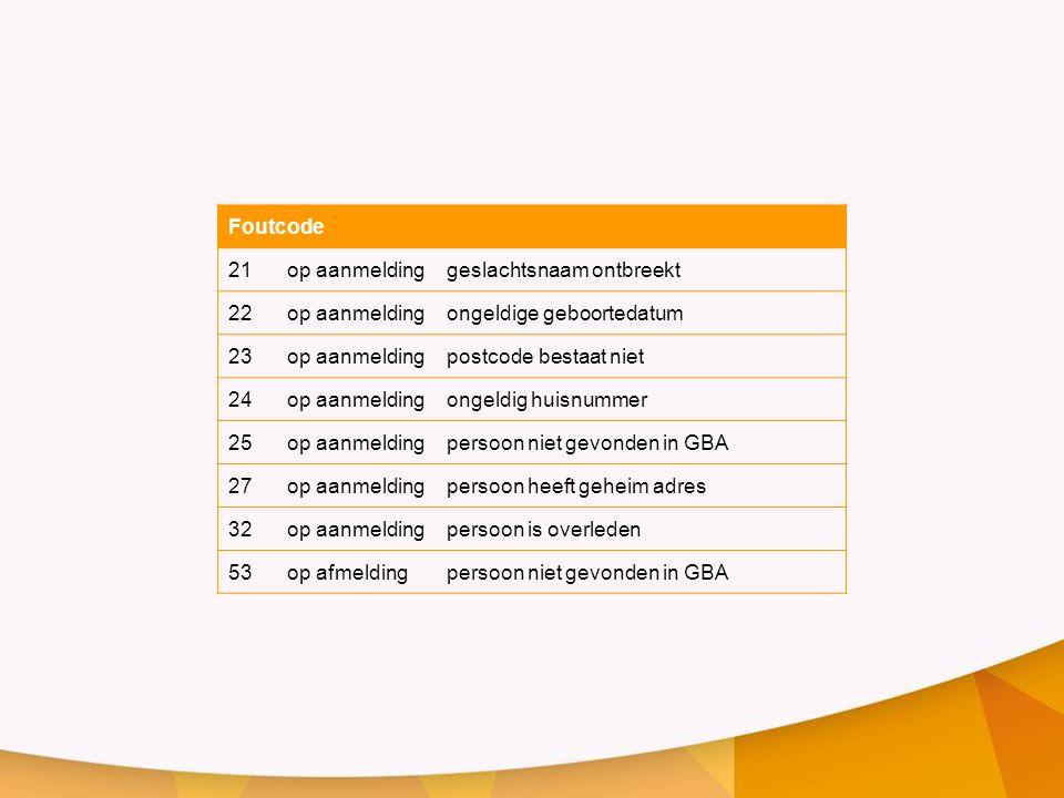 Foutcode 21op aanmeldinggeslachtsnaam ontbreekt 22op aanmeldingongeldige geboortedatum 23op aanmeldingpostcode bestaat niet 24op aanmeldingongeldig hu