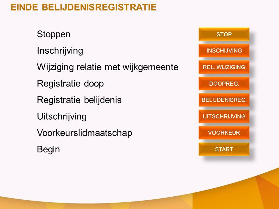 EINDE BELIJDENISREGISTRATIE Stoppen Inschrijving Wijziging relatie met wijkgemeente Registratie doop Registratie belijdenis Uitschrijving Voorkeurslid