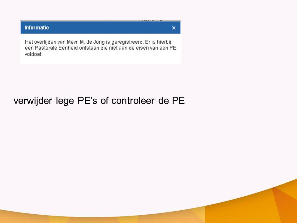 verwijder lege PE's of controleer de PE