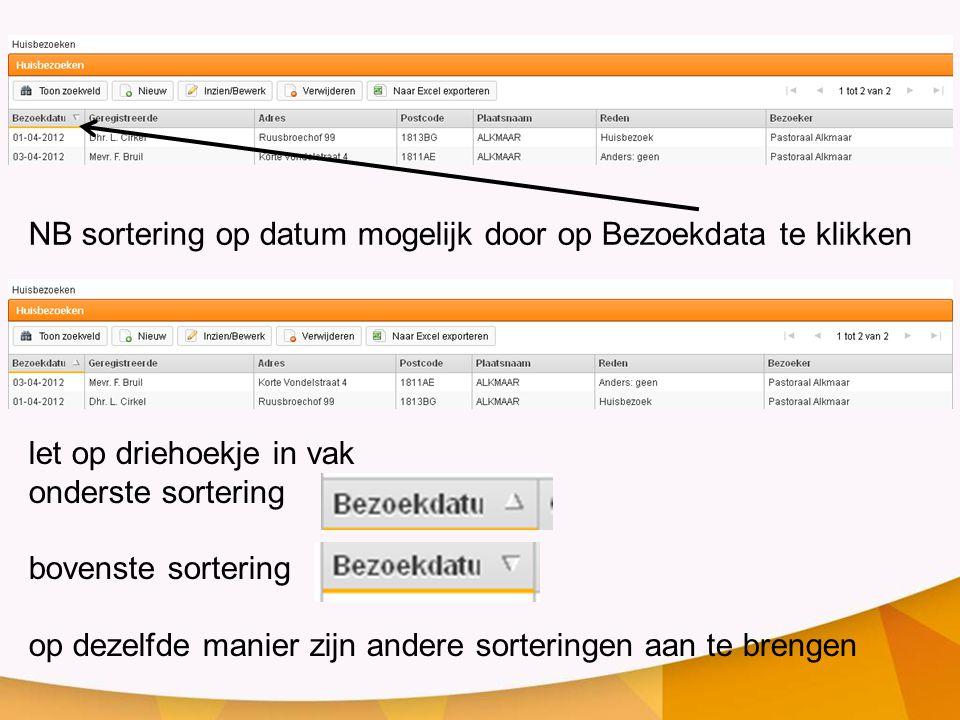 NB sortering op datum mogelijk door op Bezoekdata te klikken let op driehoekje in vak onderste sortering bovenste sortering op dezelfde manier zijn an