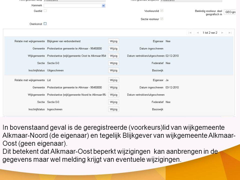 In bovenstaand geval is de geregistreerde (voorkeurs)lid van wijkgemeente Alkmaar-Noord (de eigenaar) en tegelijk Blijkgever van wijkgemeente Alkmaar-
