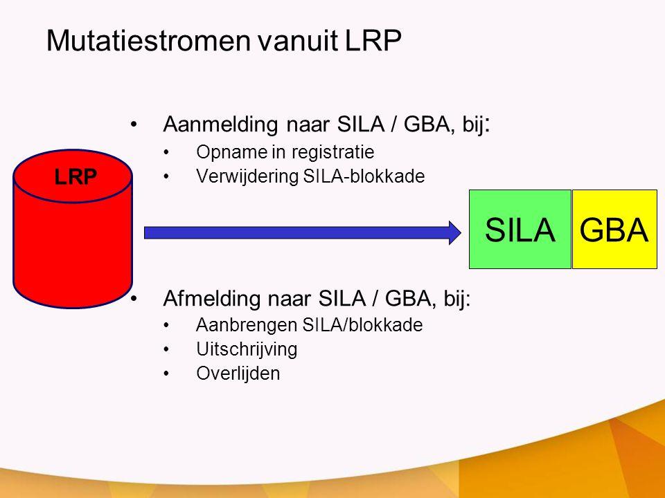 LRP SILA •Aanmelding naar SILA / GBA, bij : •Opname in registratie •Verwijdering SILA-blokkade GBA •Afmelding naar SILA / GBA, bij: •Aanbrengen SILA/b