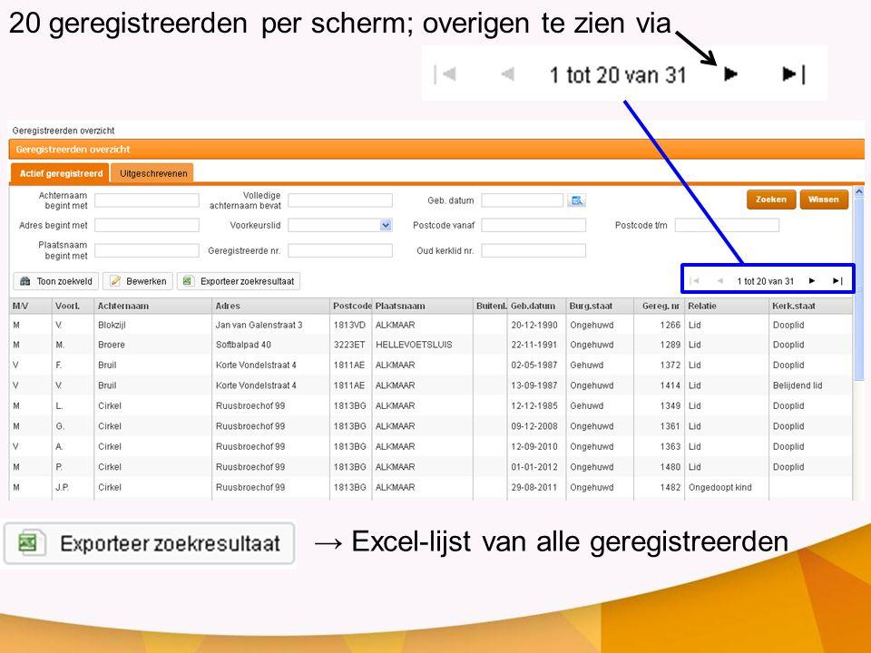 20 geregistreerden per scherm; overigen te zien via → Excel-lijst van alle geregistreerden
