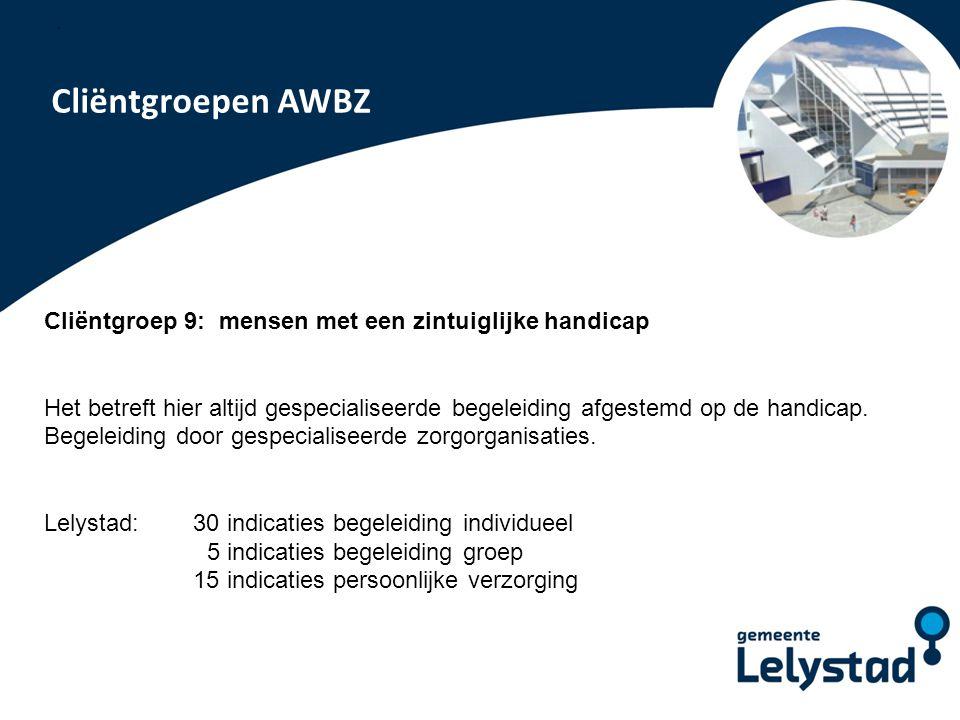 PowerPoint presentatie Lelystad Cliëntgroepen AWBZ Cliëntgroep 9: mensen met een zintuiglijke handicap Het betreft hier altijd gespecialiseerde begele