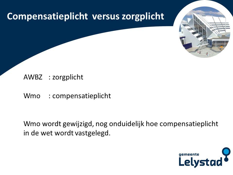 PowerPoint presentatie Lelystad Compensatieplicht versus zorgplicht AWBZ : zorgplicht Wmo : compensatieplicht Wmo wordt gewijzigd, nog onduidelijk hoe