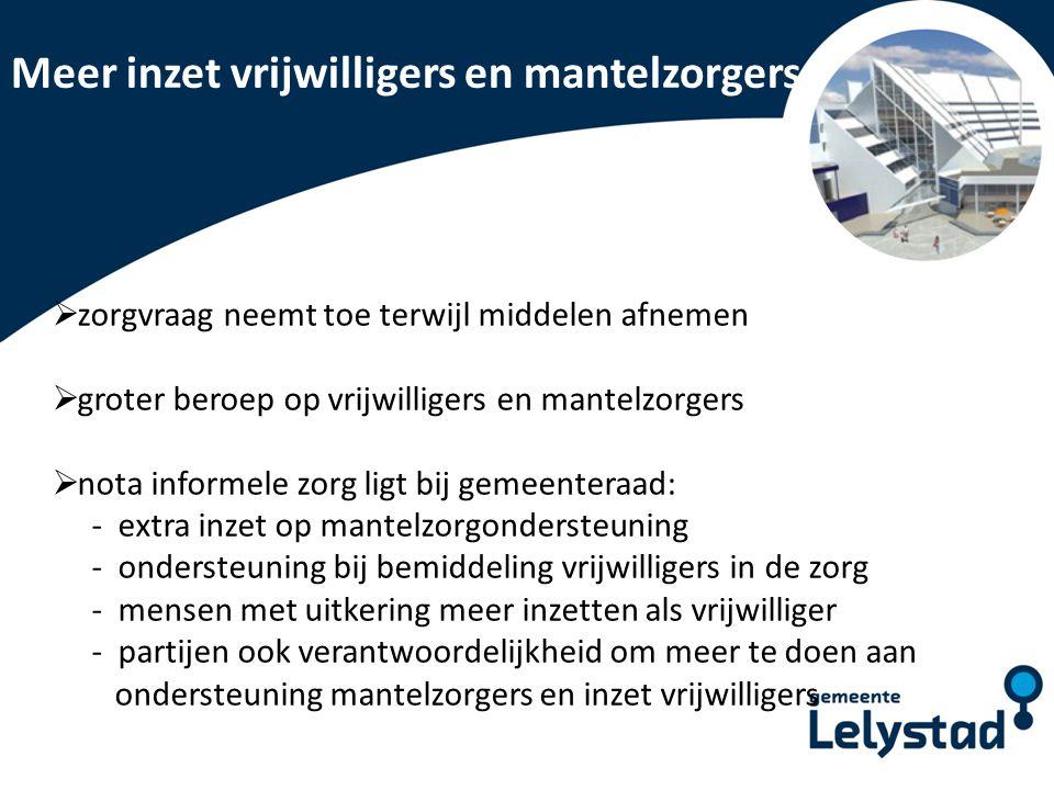 PowerPoint presentatie Lelystad Meer inzet vrijwilligers en mantelzorgers  zorgvraag neemt toe terwijl middelen afnemen  groter beroep op vrijwillig