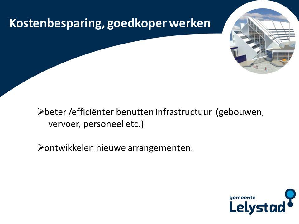 PowerPoint presentatie Lelystad Kostenbesparing, goedkoper werken  beter /efficiënter benutten infrastructuur (gebouwen, vervoer, personeel etc.)  o