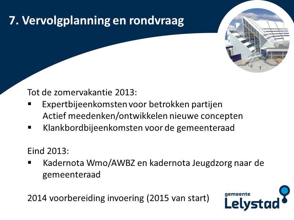 PowerPoint presentatie Lelystad 7. Vervolgplanning en rondvraag Tot de zomervakantie 2013:  Expertbijeenkomsten voor betrokken partijen Actief meeden