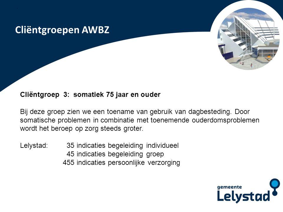 PowerPoint presentatie Lelystad Cliëntgroepen AWBZ Cliëntgroep 3: somatiek 75 jaar en ouder Bij deze groep zien we een toename van gebruik van dagbest