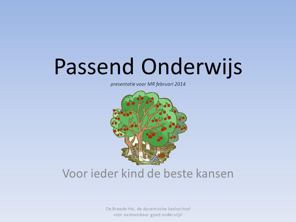 Passend Onderwijs presentatie voor MR februari 2014 Voor ieder kind de beste kansen De Breede Hei, de dynamische basisschool voor aantoonbaar goed ond