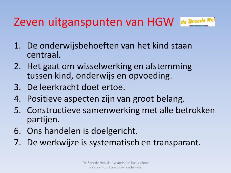 Zeven uitganspunten van HGW 1.De onderwijsbehoeften van het kind staan centraal. 2.Het gaat om wisselwerking en afstemming tussen kind, onderwijs en o