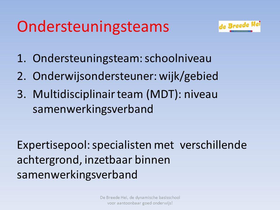 Ondersteuningsteams 1.Ondersteuningsteam: schoolniveau 2.Onderwijsondersteuner: wijk/gebied 3.Multidisciplinair team (MDT): niveau samenwerkingsverban