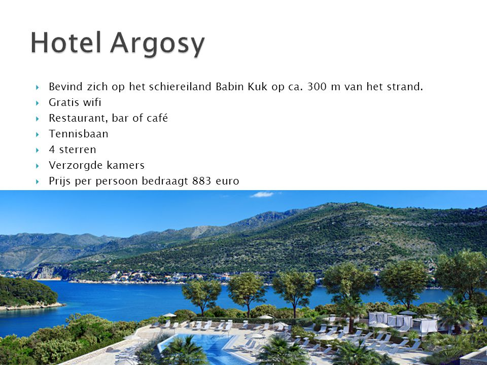  Bevind zich op het schiereiland Babin Kuk op ca. 300 m van het strand.  Gratis wifi  Restaurant, bar of café  Tennisbaan  4 sterren  Verzorgde