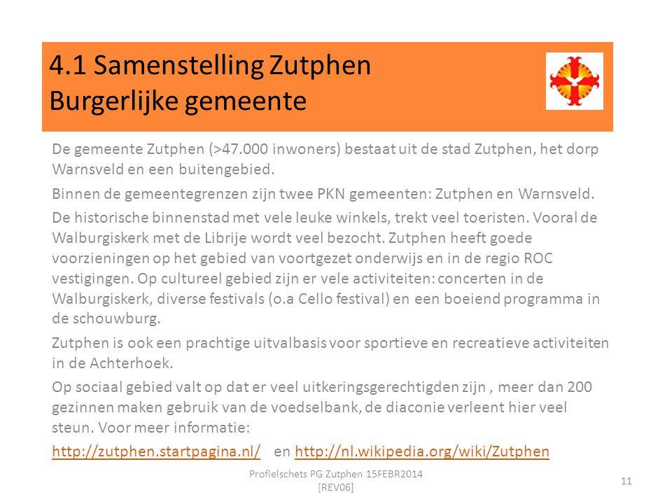 4.1 Samenstelling Zutphen Burgerlijke gemeente De gemeente Zutphen (>47.000 inwoners) bestaat uit de stad Zutphen, het dorp Warnsveld en een buitengebied.