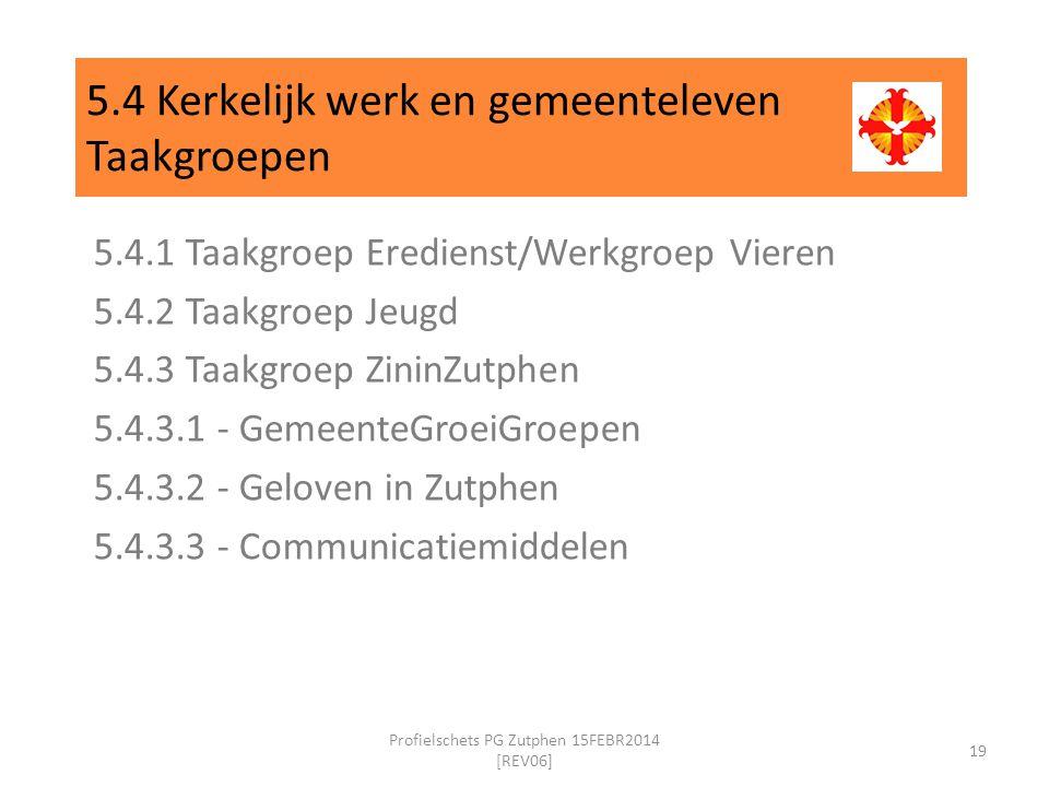 5.4 Kerkelijk werk en gemeenteleven Taakgroepen 5.4.1 Taakgroep Eredienst/Werkgroep Vieren 5.4.2 Taakgroep Jeugd 5.4.3 Taakgroep ZininZutphen 5.4.3.1 - GemeenteGroeiGroepen 5.4.3.2 - Geloven in Zutphen 5.4.3.3 - Communicatiemiddelen 19 Profielschets PG Zutphen 15FEBR2014 [REV06]