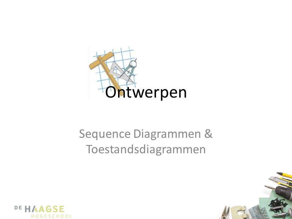 Diagrammen • We weten nu: – De structuur van een systeem • Klassendiagram • Welke klassen hebben met welke klassen te maken en hoe – Het onderlinge gedrag binnen het systeem • Sequence diagram • Op wat voor manier communiceren objecten met elkaar om Use Cases uit te voeren • Maar…