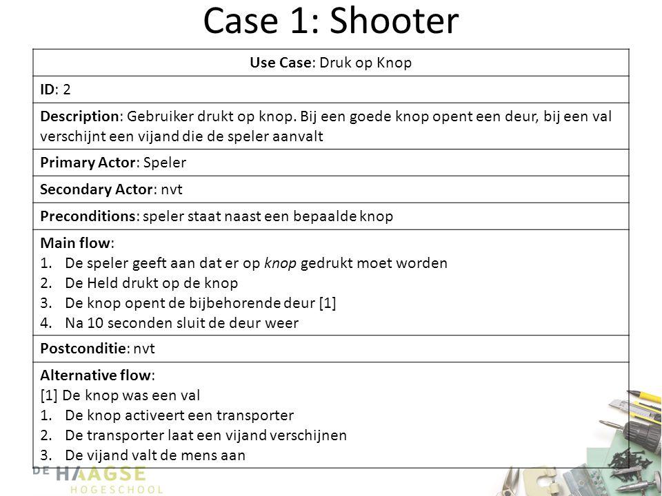 Case 1: Shooter Use Case: Druk op Knop ID: 2 Description: Gebruiker drukt op knop. Bij een goede knop opent een deur, bij een val verschijnt een vijan