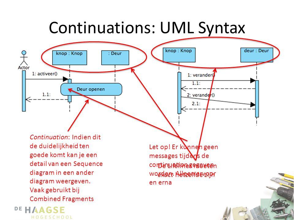 Continuations: UML Syntax Continuation: Indien dit de duidelijkheid ten goede komt kan je een detail van een Sequence diagram in een ander diagram wee
