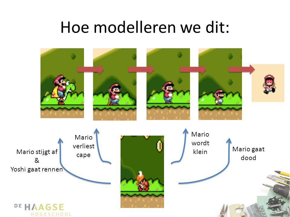 Hoe modelleren we dit: Mario stijgt af & Yoshi gaat rennen Mario verliest cape Mario wordt klein Mario gaat dood