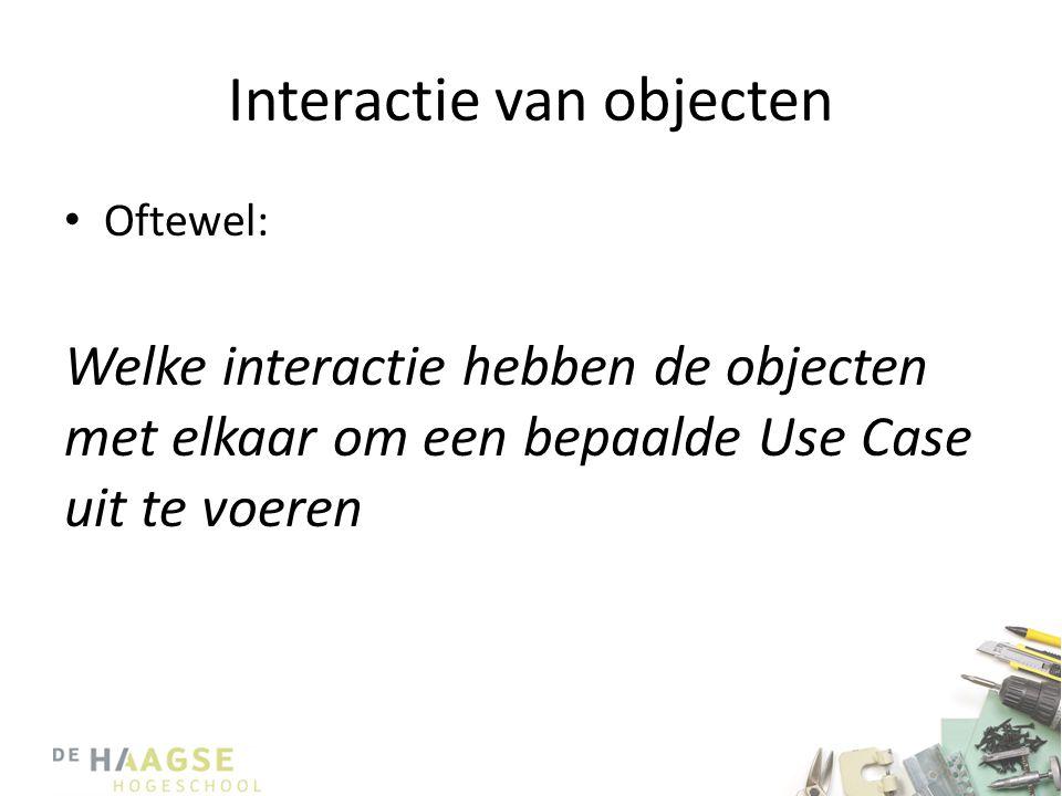 Interactie van objecten • Vooraf: – Objecten kunnen alleen met elkaar interacteren als hun klassen met elkaar verbonden zijn in het Klassendiagram – Interacteren gaat altijd met behulp van berichten • Het ene object stuurt een bericht naar een ander object.