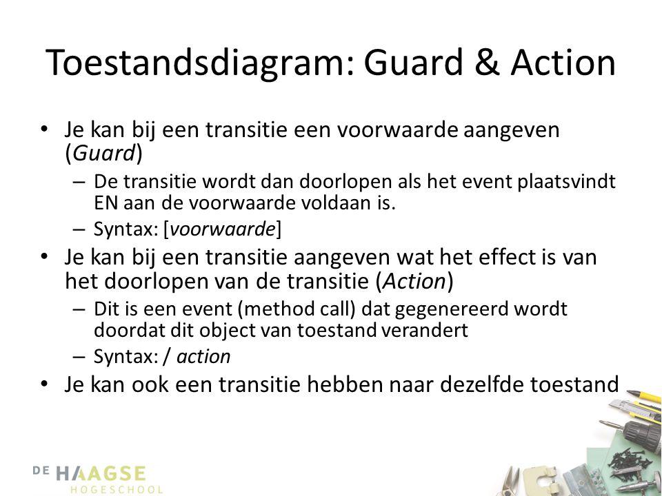 Toestandsdiagram: Guard & Action • Je kan bij een transitie een voorwaarde aangeven (Guard) – De transitie wordt dan doorlopen als het event plaatsvin