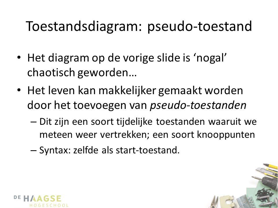 Toestandsdiagram: pseudo-toestand • Het diagram op de vorige slide is 'nogal' chaotisch geworden… • Het leven kan makkelijker gemaakt worden door het