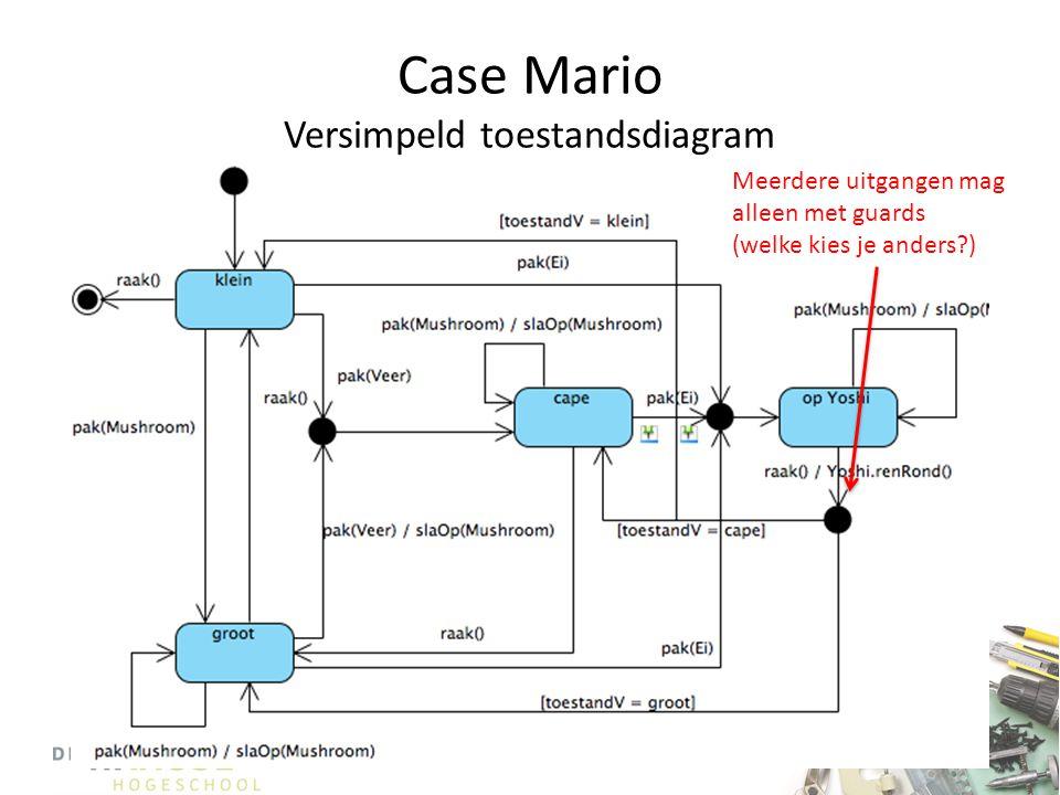 Case Mario Versimpeld toestandsdiagram Meerdere uitgangen mag alleen met guards (welke kies je anders?)
