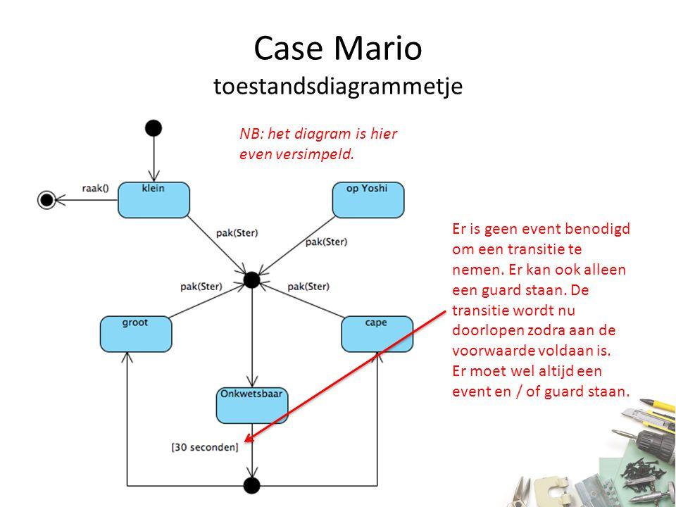 Case Mario toestandsdiagrammetje Er is geen event benodigd om een transitie te nemen. Er kan ook alleen een guard staan. De transitie wordt nu doorlop