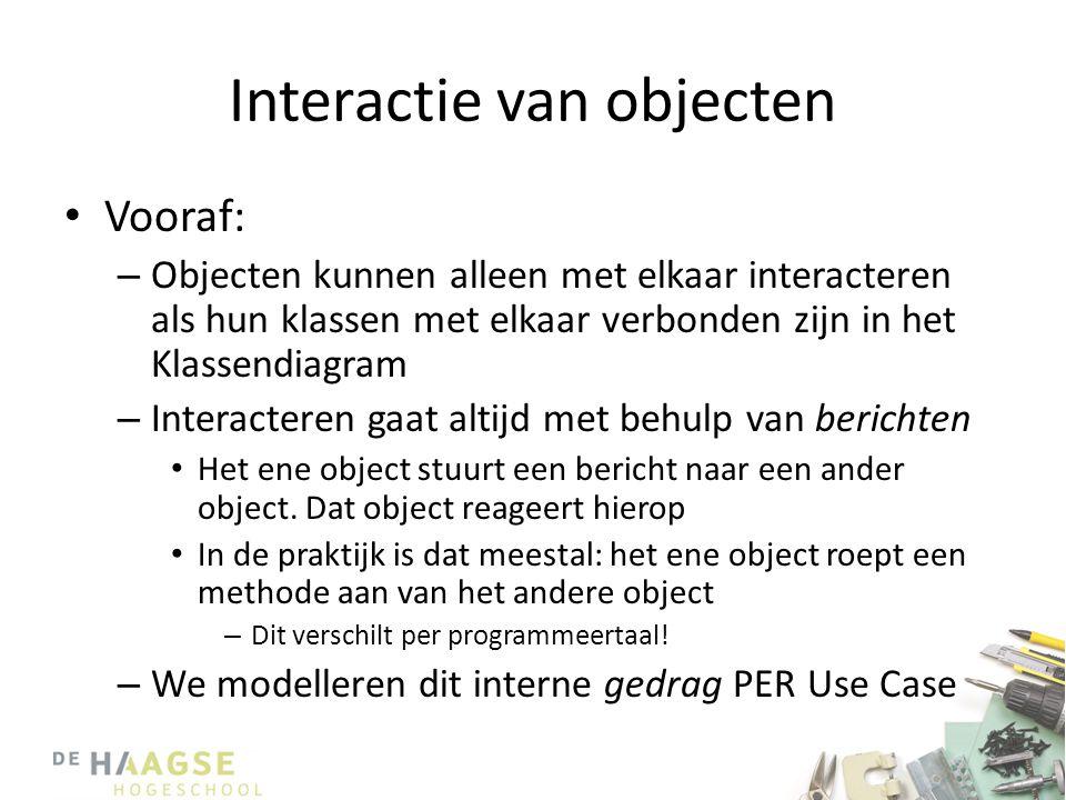 Interactie van objecten • Vooraf: – Objecten kunnen alleen met elkaar interacteren als hun klassen met elkaar verbonden zijn in het Klassendiagram – I